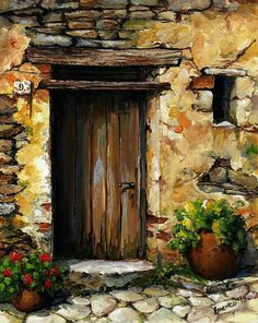 Mediterranean Portal by Emerico Imre Toth - Mediterranean Portal Painting - Mediterranean Portal Fine Art Prints and Posters for Sale Portal Art, Art Abstrait, Fine Art, Pictures To Paint, Lake Pictures, Watercolour Painting, Painting Abstract, Painting Doors, Watercolors