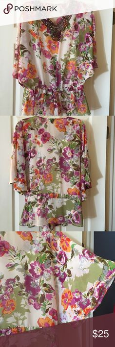 NY Collection beautiful blouse! Beautiful floral blouse with beading at neckline and tie waist. Draped sleeves add nice touch! NY Collection Tops Blouses