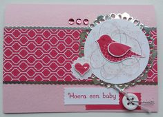 #TGIFC20 It's a girl! The Pink Pirouette and Strawberry Slush makes a perfect girly colourcombination. The misty glittery background sparkles and gives the card a little extra cheer. Stampin' Up! by Sandra Kleine ♡