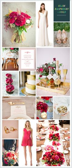 Glam Raspberry + Gold Wedding Inspiration