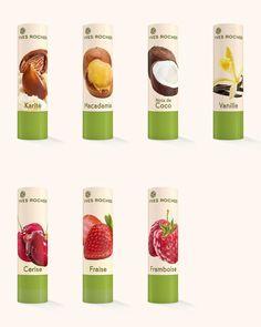 Yves Rocher - Baume à lèvres, Karité, Macadamia, Noix de coco, Vanille, Cerise, Fraise, Framboise