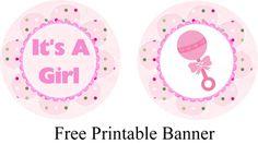 """It's a girl"" free printable cupcake topper."
