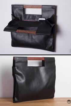 LESS is BAG Black BIG Deep black leather handbag by maisondressage