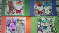 Turn coloring pages into beautiful holiday cards. An easy preschool craft.
