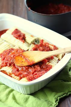Vegan Baked Manicotti with Kale and Red Wine Tomato Sauce