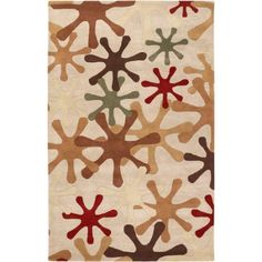 Art of Knot Tuscumbia Hand Tufted Wool Area Rug, 5' x 8', Beige