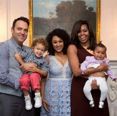Adam Housley, Aden John Tanner Housley, Tamera Mowry-Housley, Michelle Obama, and Ariah Talea Housley