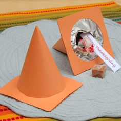 "Construction Cone Favor Boxes via Disney Family Fun Perfect for construction, racing and ""Cars""-themed parties!"