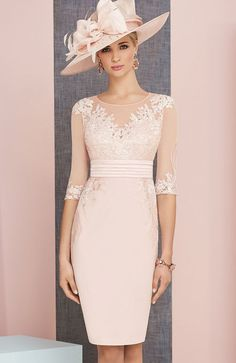 Veni Infantino 991313 Colour Rose & Ivory, price A knee length satin back crepe dress lace appliques, wide waistband and matching ¾ length sleeved jacket. hochzeit brautmutter Veni Infantino 991313 Mother of Bride Outfit in Rose & Ivory - Mother Of The Bride Fashion, Mother Of Bride Outfits, Mother Of Groom Dresses, Bride Groom Dress, Groom Outfit, Mothers Dresses, Mother Of The Bride Dresses Knee Length, Mother Of The Bride Jackets, Mother Bride