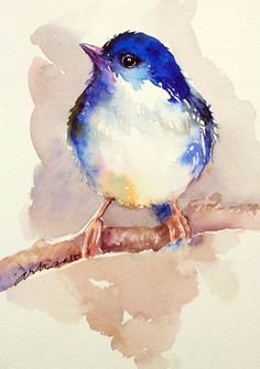 ARTFINDER: Birdie Blue by Arti Chauhan -  This tiny bird with deep blue-purple top and soft fawn belly has been painted in expressive style, using wet in wet technique on artist quality paper. It wi...