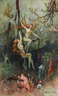 """The book of fairy poetry, 1920 Illustrations by Warwick Goble """"Sea-nymphs hourly ring his knell: Hark! now I hear them,—ding-gong, bell."""""""