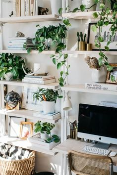 Leaning shelves around computer, styled perfectly!