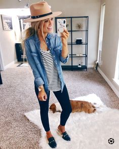 Fashion + Lifestyle with Katy Roach Love the stripes with the denim shirt! Cute Fall Outfits, Fall Winter Outfits, Casual Outfits, Outfits With Hats, Girls Weekend Outfits, Summer Outfits For Work, Fall Beach Outfits, Stylish Mom Outfits, Casual Travel Outfit