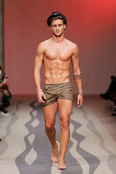 Model - VascoCoelho, hot shorts shirtless - Nuno Gama showed his Spring/Summer 2015 collection during ModaLisboa. Spring Summer 2015, Summer Wear, Underwear, Swim Shorts, Hot Shorts, Attractive Men, Cute Guys, Male Models, Sexy Men