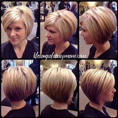Stacked Inverted Bob Haircuts #WomenHairHighlightsStackedBobs
