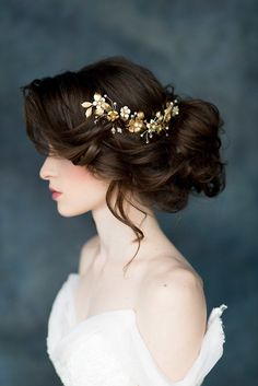 Larissa Gold Floral Bridal Hair Vine