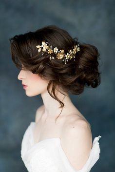 Larissa Gold Floral Bridal Hair Vine