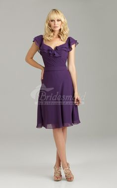 Elegant Regency Chiffon Sweetheart Knee Length Bridesmiad Dress,Purple Bridesmaid Dresses