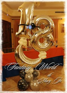 Balloon 18th Balloon Words, Balloon Crafts, Number Balloons, Letter Balloons, Balloon Centerpieces, Balloon Decorations, Birthday Party Decorations, Wedding Balloons, Gifts