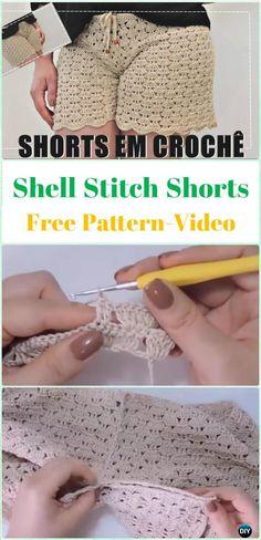 Crochet Shell Stitch Shorts Free Pattern [Video] - Crochet Summer Shorts & Pants Free Patterns