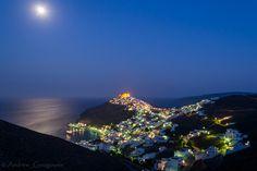 Astypalaia under full moon Zorba The Greek, Greece Travel, Greek Islands, Full Moon, Travel Around, Moonlight, Sailing, Channel, Traveling