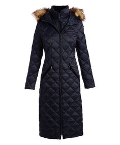 Take a look at this Navy Faux Fur-Trim Hooded Puffer Coat today! cdc2ad2175713