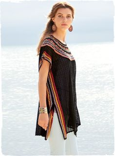 Channeling summer's gypsy spirit, the pima caftan is knit in an open lace stitch with vibrant handcrocheted striping at the yoke and sides. Going effortlessly from beach to bistro, this remarkable art knit is styled with easy drop shoulders and side vents. -- idea, for project
