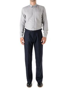 The Cavalry Trouser is a looser cut than our Fishtail, without being baggy. Here it shines thanks to the bold check of the Haydon midnight fabric. Fishtail, Trousers, Sweatpants, Suits, Fashion, Trouser Pants, Moda, Pants, Fashion Styles