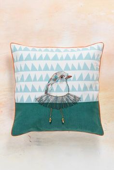 Ballerina Bird Printed and Embroidered Cotton Cushion Cover