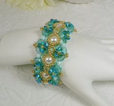 Woven Bracelet in Mint and Aqua ABx2 Crystal Pearl and Swarovski Crystal Jewelry for Women