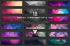 Technological vector web banners. 6 sets in 1 bundle Included files: - 1 vector Ai file with all sets (artboard: 6000x4000px) - 6 vector EPS10 files (artboard: 50x50px) - 6 high quality JPEG files without watermarks on banners (size: 5000x5000px) Vector files you can scale up to any size without loss of quality!