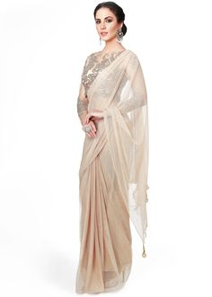 Gold saree matched with embellished blouse only on Kalki