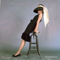 """Audrey Hepburn in iconic wide-brimmed straw hat she wore in the film """"Breakfast at Tiffany's"""", short black cocktail dress and hat by Givenchy, photo by John Springer, 1961 Style Audrey Hepburn, Audrey Hepburn Breakfast At Tiffanys, Vintage Dresses, Vintage Outfits, Vintage Fashion, Carolina Herrera, Retro Mode, My Fair Lady, Elsa Peretti"""