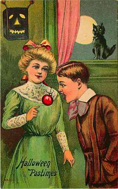 Apple games were associated with telling fortunes, especially in love matters. Halloween Pastimes
