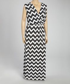 Look what I found on #zulily! Black & White Zigzag Sleeveless Surplice Maxi Dress  - Plus #zulilyfinds