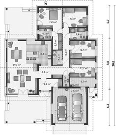 House design Telma Solis – masonry – ceramics – co … – Home Decoration House Plans One Story, Dream House Plans, House Floor Plans, House Furniture Design, House Design, Beautiful House Plans, Modern Bungalow House, 4 Bedroom House Plans, Construction Cost