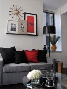 Idea for charcoal couches...red, gray pinstripe, black - living room colors