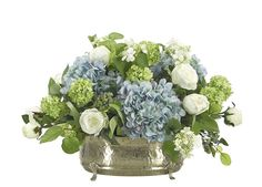Hydrangea Rose (BF150): Hydrangea Rose, Blue White, Pewter Oval, 22wx20dx15h