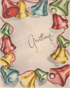 Red Green Yellow Blue Bell Garland Music VTG Christmas Greeting Card