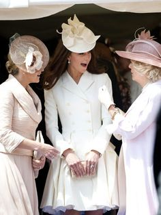 Kate Middleton Style File: June 2012  On 18 June 2012, Kate Middleton wows in a white McQueen frock and matching fascinator at the Order Of The Garter service in Windsor.