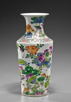 Tall Chinese Famille Rose Porcelain Vase of unusual rouleau-type form with design of birds in flight above lotus flowers, 6-character mark; H: 16 1/2""