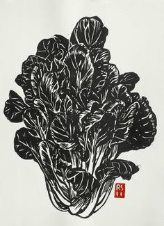 Tat Soi Hand-printed Block Print.