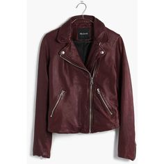 MADEWELL Washed Leather Motorcycle Jacket ($498) ❤ liked on Polyvore featuring outerwear, jackets, cabernet, zip jacket, red moto jacket, leather moto jacket, leather rider jacket and biker jacket