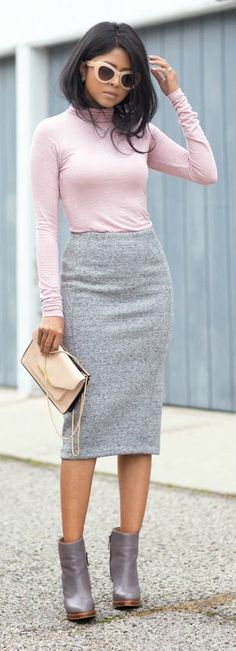PINK AND GREY - Pink Soft Spot Knit Turtleneck with Gray Mini Warm Skirt and Pointy Booties / Walk in Wonderland