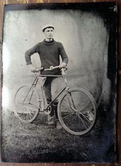 Tintype Man with Bicycle Exterior Early Photograph Exterior Outdoor   eBay