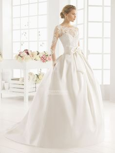 Alluring Ball Gown boat neck long sleeves lace Wedding Dresses PMLD00126