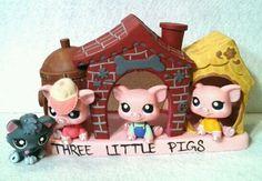 Three Little Pigs Lot OOAK Hand Painted Custom Littlest Pet Shop   eBay