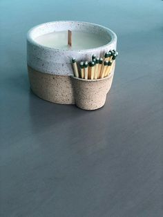 Match strike ceramic candle holder with hand poured, amber scented soy candle - . - Match strike ceramic candle holder with hand poured, amber scented soy candle – Match strike cer - The Melting Pot, Ceramic Pottery, Pottery Art, Ceramic Art, Slab Pottery, Ceramic Decor, Pottery Studio, Ceramic Painting, Ceramic Bowls