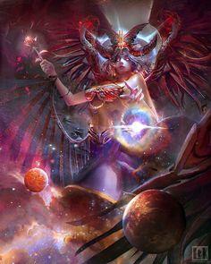 Goddess Cybele  ,  by Lin Yu Xiang aka watt277   ,   for LiKStudios , card illustration   http://reignofdragons.wikia.com/wiki/Eunomia