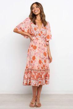 Orlina Dress - Pink - Petal & Pup Printed Dresses, Pink Petals, New Day, Wrap Style, Pink Dress, Pup, Long Sleeve, Summer, Model